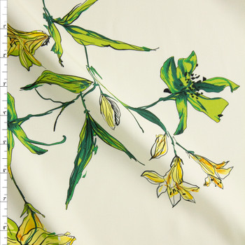 Yellow and Green Lilies on Offwhite Rayon Crepe Fabric By The Yard