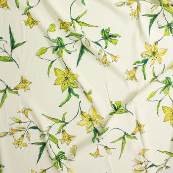 Yellow and Green Lilies on Offwhite Rayon Crepe Fabric By The Yard - Wide shot