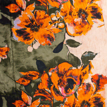 Neon Orange, Peach, and Dark Olive Floral Border Print Rayon Challis Fabric By The Yard - Wide shot