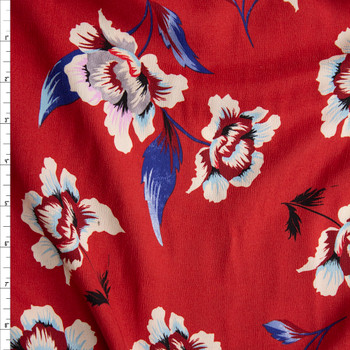Blue, Ivory, and Grey Floral on Red Rayon Georgette Fabric By The Yard