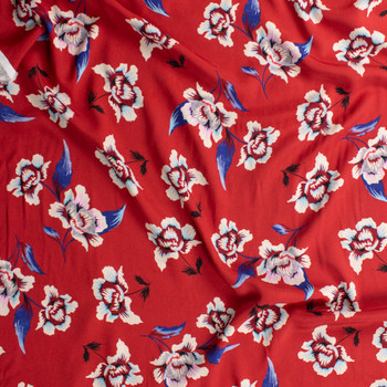 Blue, Ivory, and Grey Floral on Red Rayon Georgette Fabric By The Yard - Wide shot