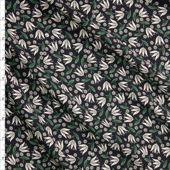 Black, Ivory, and Olive Floral Rayon Challis Fabric By The Yard