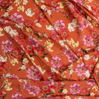 Pink and Rust Floral on Terracotta Rayon Georgette Fabric By The Yard - Wide shot