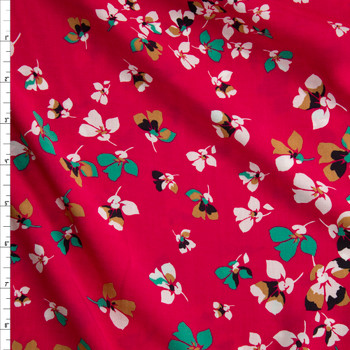 White, Green, and Mustard Flowers on Hot Pink Rayon Challis Fabric By The Yard