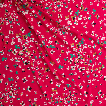 White, Green, and Mustard Flowers on Hot Pink Rayon Challis Fabric By The Yard - Wide shot