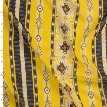 Black and Yellow Southwest Inspired Vertical Stripe Chiffon Fabric By The Yard