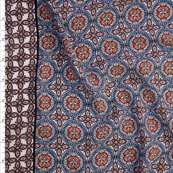 Brick, Blue, and Ivory Medallion Floral Border Print Crepe De Chine Fabric By The Yard