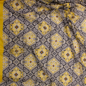 Yellow and Grey Aztec Floral Chiffon Fabric By The Yard - Wide shot