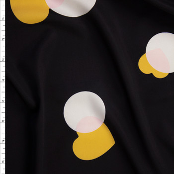 Yellow, Pink, and Offwhite Hearts and Circles on Black Peachskin Fabric By The Yard
