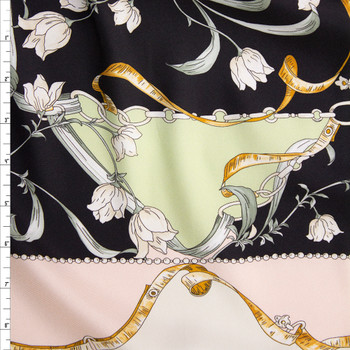 Black, Blush, Cream, and Sage Tiled Print Lightweight Twill Fabric By The Yard