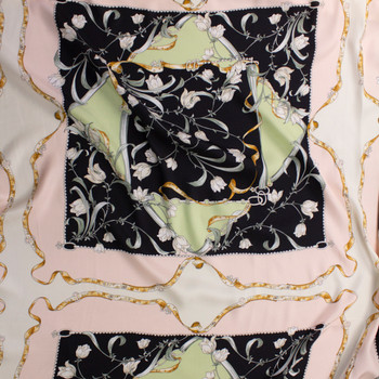 Black, Blush, Cream, and Sage Tiled Print Lightweight Twill Fabric By The Yard - Wide shot