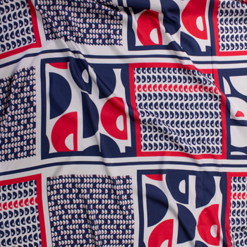 Red, Navy, and Offwhite Tiled Geometric Challis Fabric By The Yard - Wide shot