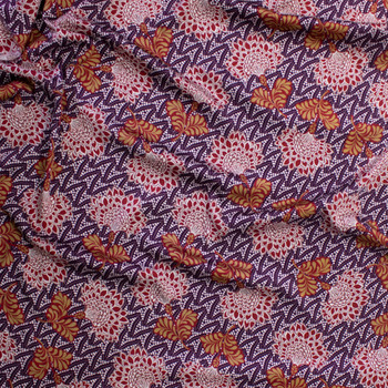 Plum, Wine, and Tan Ornamental Floral Charmeuse Satin Fabric By The Yard - Wide shot