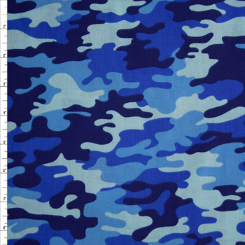 Blue Camouflage Quilter's Cotton Print Fabric By The Yard