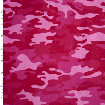 Hot Pink Camouflage Quilter's Cotton Print Fabric By The Yard