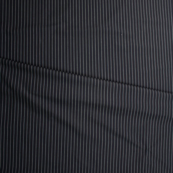 White on Black Vertical Pinstripe Poly/Cotton Twill Fabric By The Yard - Wide shot
