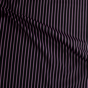 Pink on Black Vertical Pencil Stripe Cotton Twill Fabric By The Yard - Wide shot