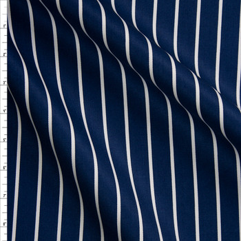 White on Navy Vertical Pencil Stripe Cotton Twill Fabric By The Yard