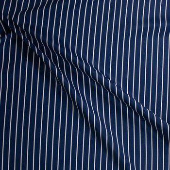 White on Navy Vertical Pencil Stripe Cotton Twill Fabric By The Yard - Wide shot