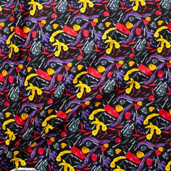 Peppers on Black Designer Cotton Twill Fabric By The Yard - Wide shot