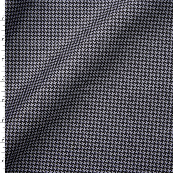 Grey and Black Houndstooth Designer Cotton Twill Fabric By The Yard