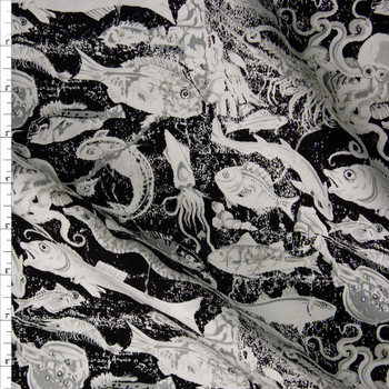 Grunge White Fish and Sea Creatures on Black Designer Cotton Twill Fabric By The Yard