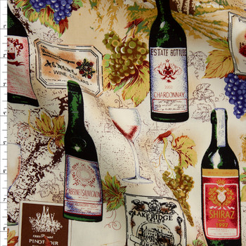 Wine Bottles, Grapes, and Vineyards Designer Cotton Twill Fabric By The Yard