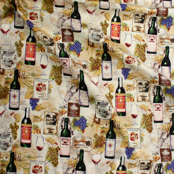 Wine Bottles, Grapes, and Vineyards Designer Cotton Twill Fabric By The Yard - Wide shot