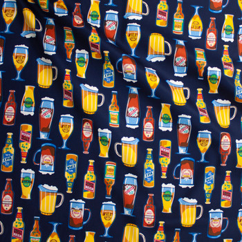 Craft Beer on Blue Designer Cotton Twill Fabric By The Yard - Wide shot
