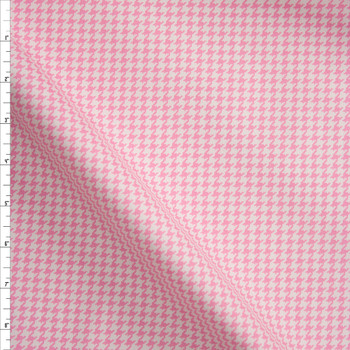 Pink and White Houndstooth Designer Cotton Twill Fabric By The Yard