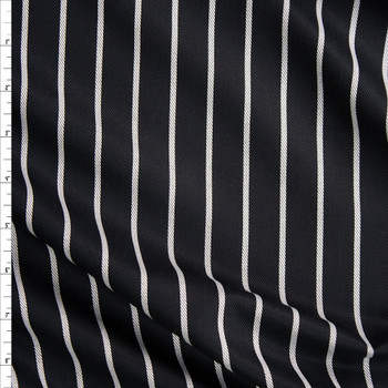 White on Black Vertical Pencil Stripe Rayon Twill Fabric By The Yard