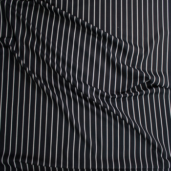 White on Black Vertical Pencil Stripe Rayon Twill Fabric By The Yard - Wide shot