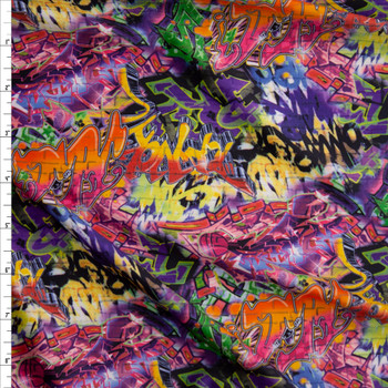 Vibrant Grafitti Midweight Nylon/Spandex Fabric By The Yard
