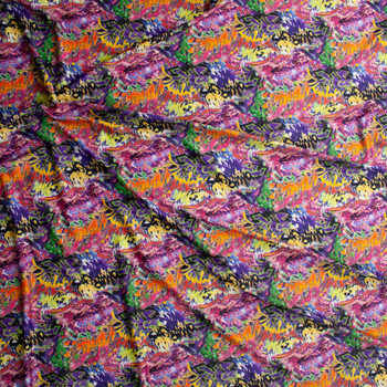 Vibrant Grafitti Midweight Nylon/Spandex Fabric By The Yard - Wide shot
