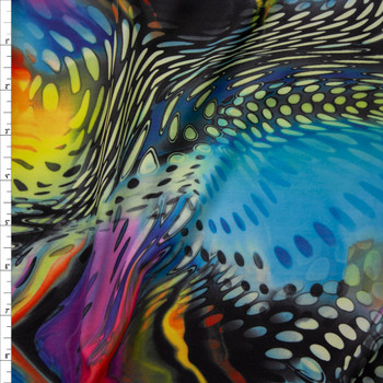 Vibrant Swirling Abstract Pattern Midweight Nylon/Spandex Fabric By The Yard