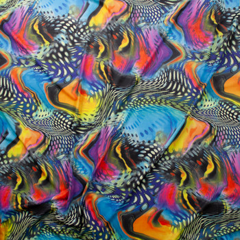 Vibrant Swirling Abstract Pattern Midweight Nylon/Spandex Fabric By The Yard - Wide shot