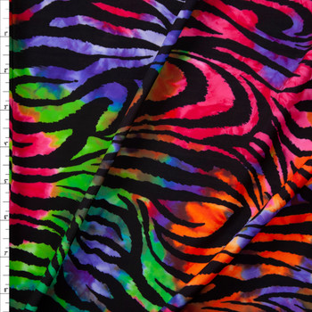 Bright Tie Dye Zebra Midweight Nylon/Spandex Fabric By The Yard