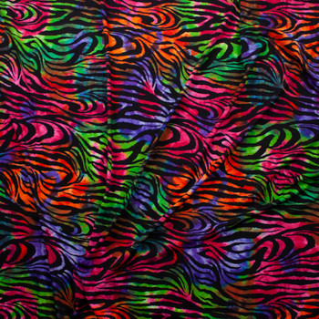 Bright Tie Dye Zebra Midweight Nylon/Spandex Fabric By The Yard - Wide shot