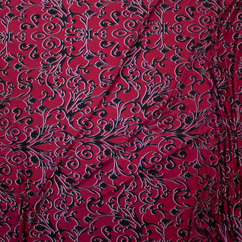 Black Scrollwork on Wine Lightweight Poly/Spandex Knit Fabric By The Yard - Wide shot