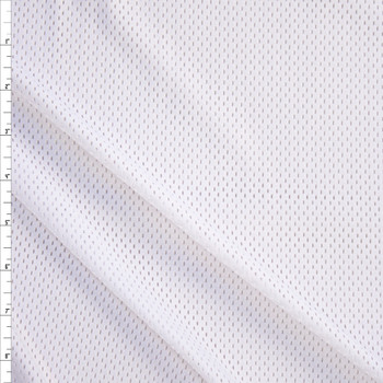White Stretch Sports Mesh Fabric By The Yard