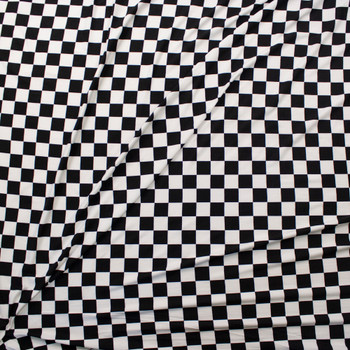 Black and White Checkers Double Brushed Poly Knit Fabric By The Yard - Wide shot