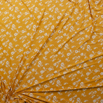 Offwhite Floral Silhouettes on Mustard Double Brushed Poly Knit Fabric By The Yard - Wide shot
