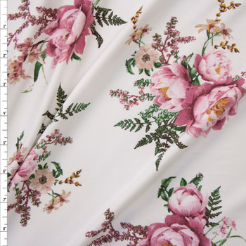 Pink, Green, and Mustard Wild Blooms on Offwhite Double Brushed Poly Knit Fabric By The Yard