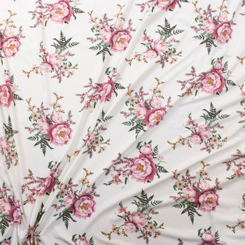 Pink, Green, and Mustard Wild Blooms on Offwhite Double Brushed Poly Knit Fabric By The Yard - Wide shot