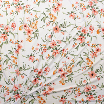 Peach and Coral Brushstroke Floral on Offwhite Double Brushed Poly Knit Fabric By The Yard - Wide shot