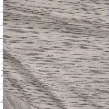 Streaked Grey and Black Heather Rayon French Terry Fabric By The Yard