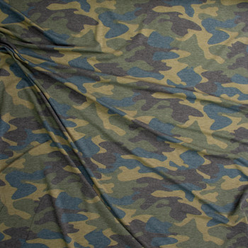 Olive, Charcoal, and Teal Camouflage Rayon French Terry Fabric By The Yard - Wide shot