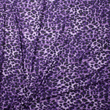 Purple Leopard Print Stretch Rayon Spandex Jersey Fabric By The Yard - Wide shot