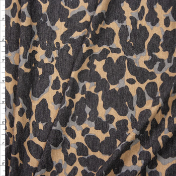 Grey and Tan Abstract Leopard Print Stretch Rayon Spandex Jersey Fabric By The Yard