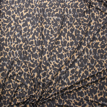 Grey and Tan Abstract Leopard Print Stretch Rayon Spandex Jersey Fabric By The Yard - Wide shot